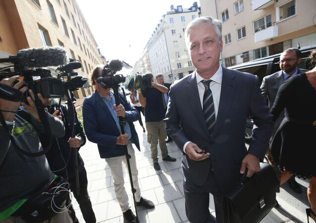 Robert C O'Brien, US Special Envoy Ambassador, arrives at the district court to follow the trial against US rapper ASAP Rocky (not in picture) in Stockholm on August 1, 2019.