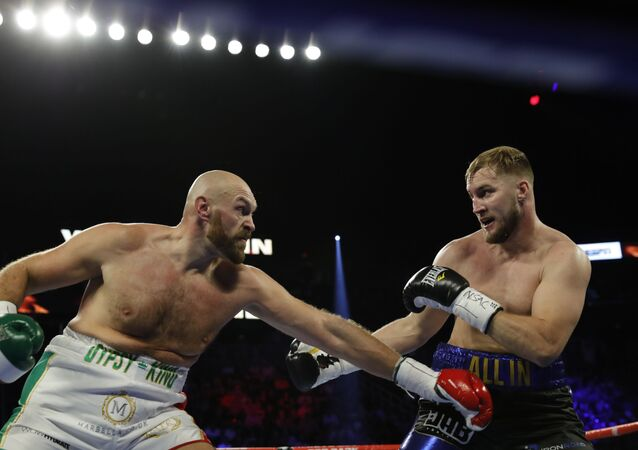 Tyson Fury in action with Otto Wallin at T-Mobile Arena in Las Vegas on 14 September 2019