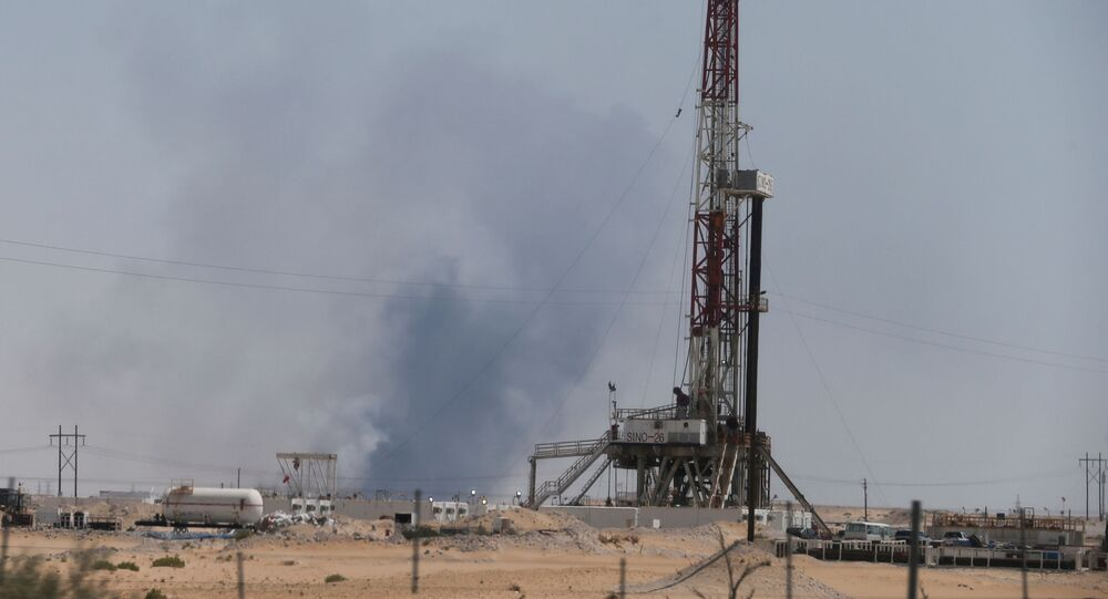 Smoke is seen following a fire at Aramco facility in the eastern city of Abqaiq, Saudi Arabia, September 14, 2019.