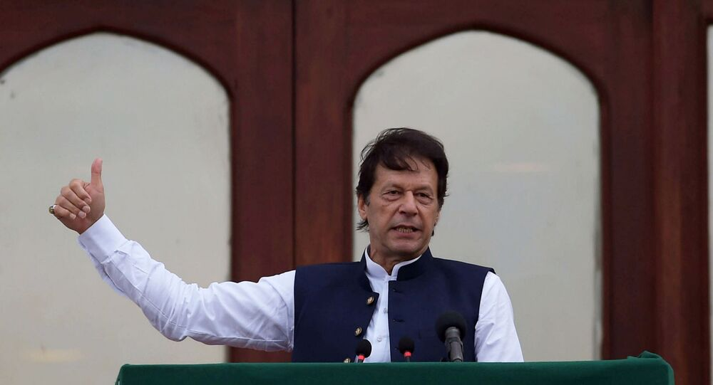 Pakistan's Prime Minister Imran Khan gestures as he speaks during a countrywide 'Kashmir Hour' demonstration to express solidarity with the people of Kashmir, at the Prime Minister's House in Islamabad, Pakistan, August 30, 2019.