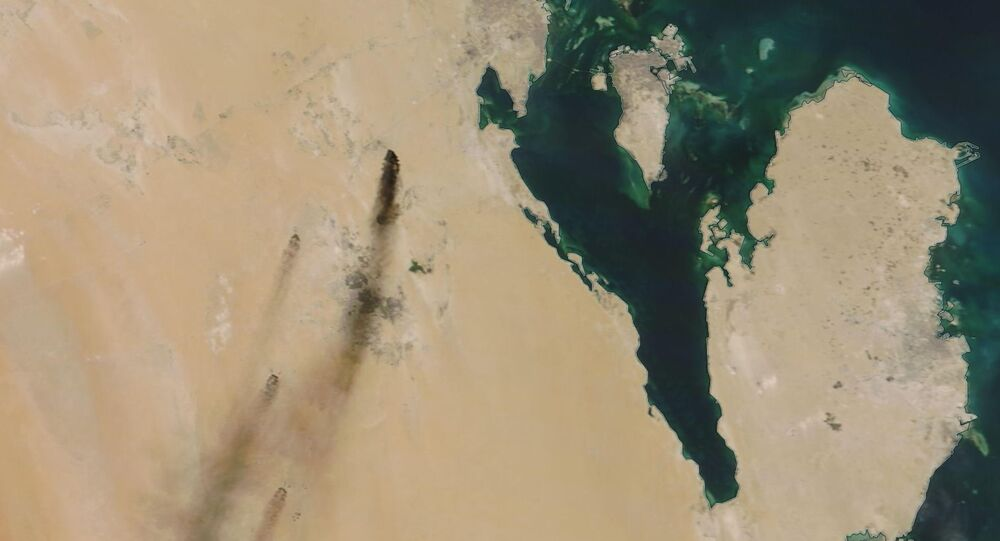This Saturday, Sept. 14, 2019, satellite image provided by NASA Worldview shows fires following Yemen's Houthi rebels claiming a drone attack on two major oil installations in eastern Saudi Arabia