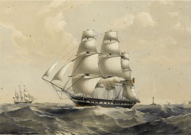 East Indiamen off Madagascar, circa 1837