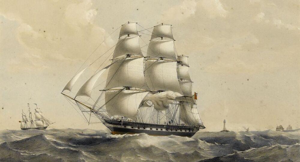East Indiamen off Madagascar, circa 1837