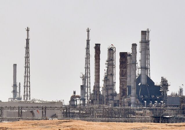 A picture taken on September 15, 2019 shows an Aramco oil facility near al-Khurj area, just south of the Saudi capital Riyadh.