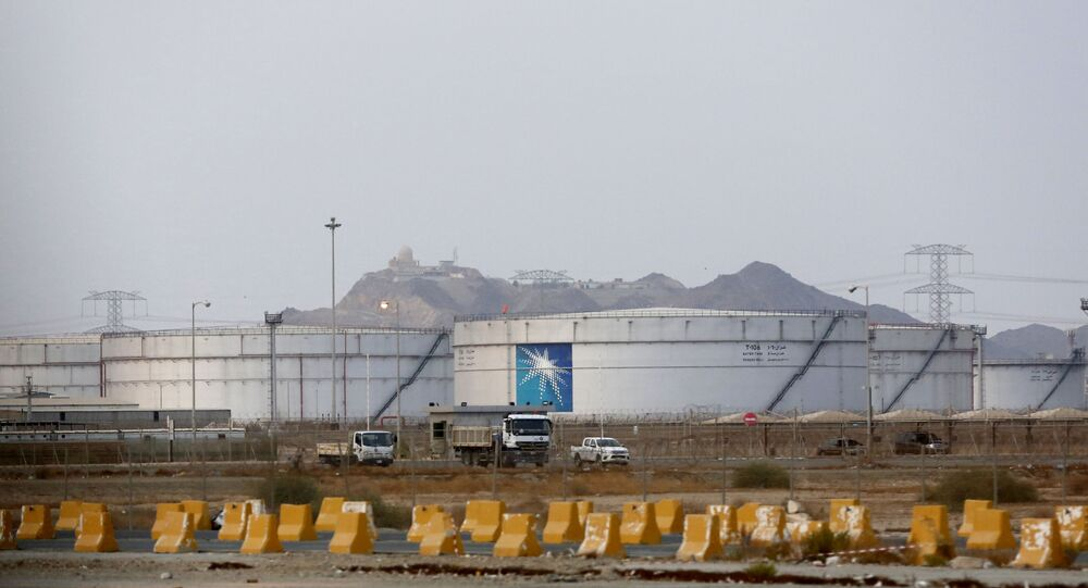 Storage tanks are seen at the North Jiddah bulk plant, an Aramco oil facility, in Jiddah, Saudi Arabia