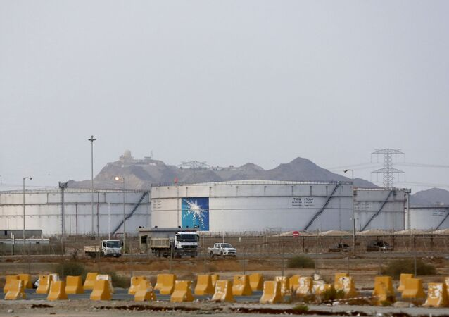 Storage tanks are seen at the North Jiddah bulk plant, an Aramco oil facility, in Jiddah, Saudi Arabia