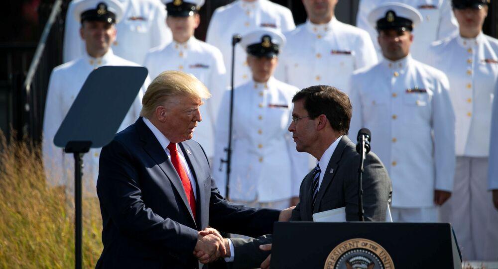 U.S. President Donald Trump shakes hands with U.S. Defense Secretary Mark Esper during a ceremony marking the 18th anniversary of September 11 attacks at the Pentagon in Arlington, Virginia, U.S., September 11, 2019. REUTERS/Al Drago