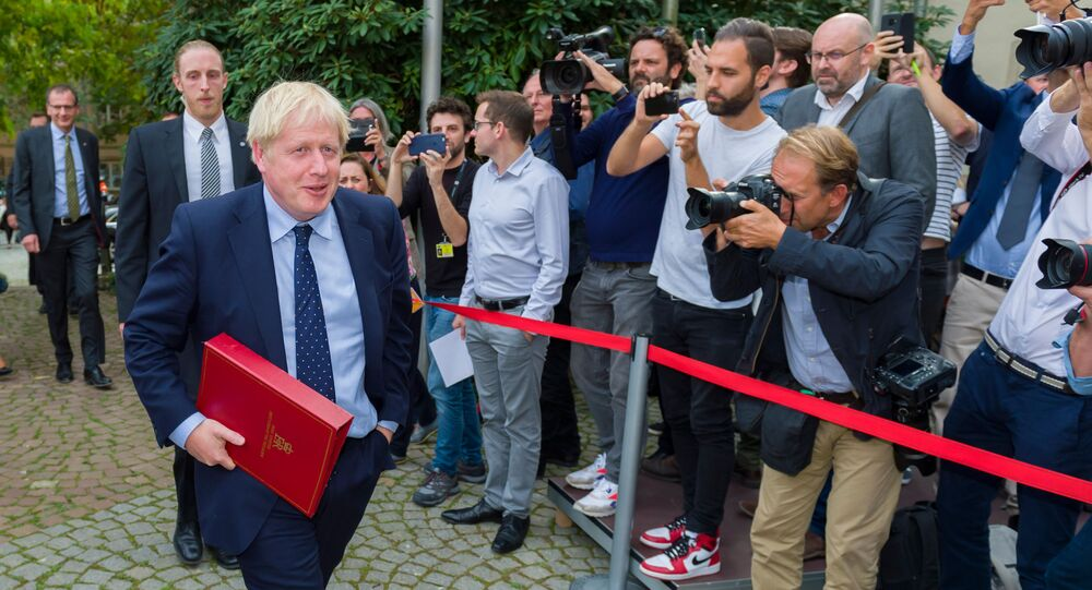 British Prime Minister Boris Johnson after a meeting with EU Commission President and officials at the Ministere d'Etat in Luxembourg.