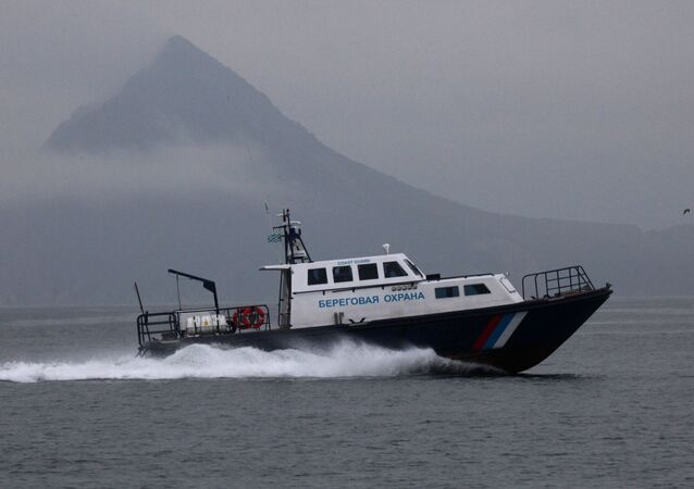 Primorye coast guard motorboat in the Sea of Japan