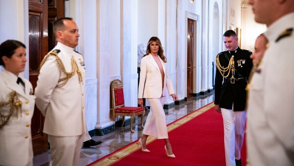 First Lady Melania Trump arrives before U.S. President Donald Trump presents the Medal of Freedom to former New York Yankees pitcher Mariano Rivera during a ceremony in the East Room of the White House in Washington, U.S., September 16, 2019 - Sputnik International