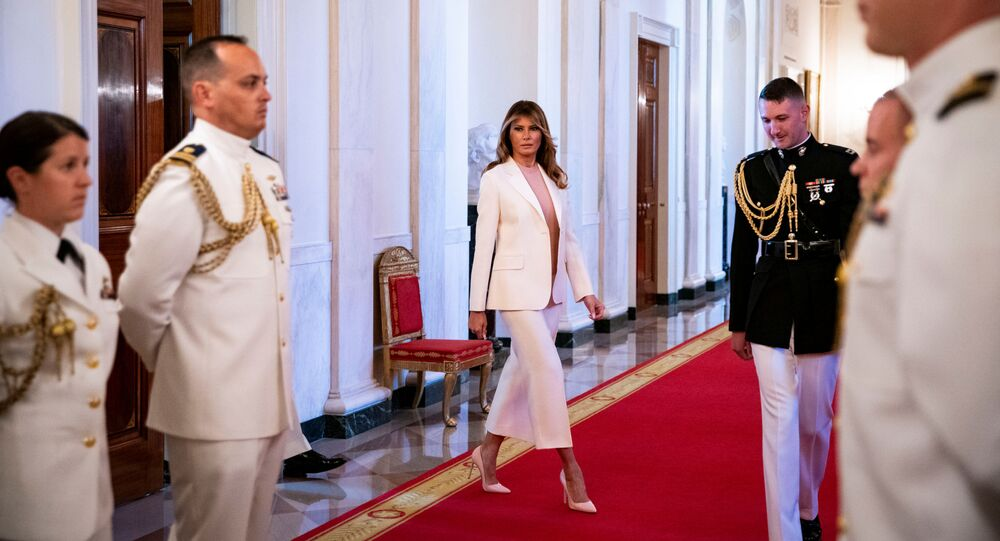 First Lady Melania Trump arrives before U.S. President Donald Trump presents the Medal of Freedom to former New York Yankees pitcher Mariano Rivera during a ceremony in the East Room of the White House in Washington, U.S., September 16, 2019