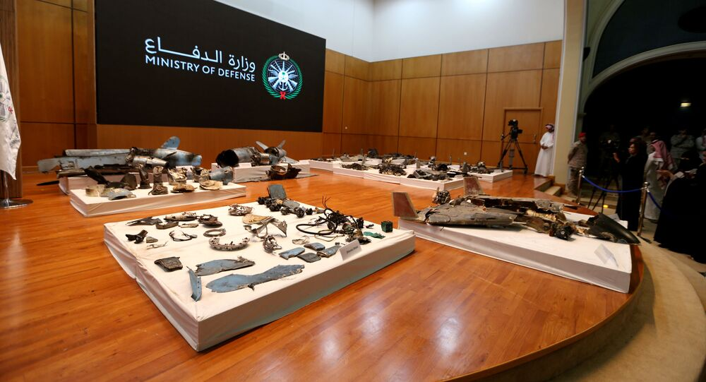 Remains of the missiles which Saudi government says were used to attack an Aramco oil facility, are displayed during a news conference in Riyadh, Saudi Arabia September 18, 2019