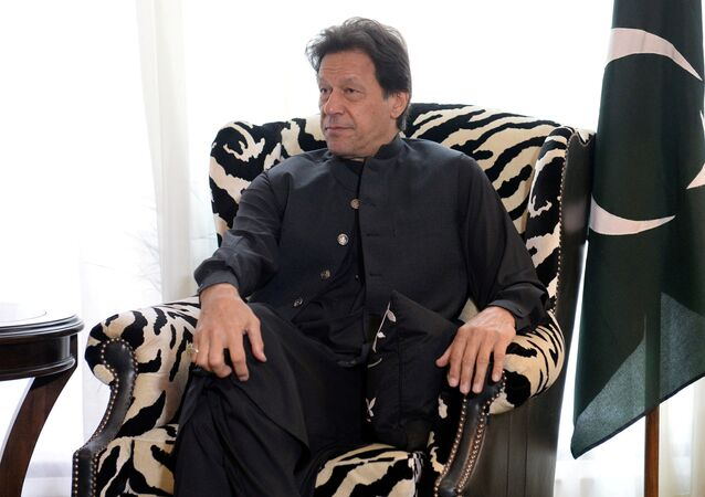 Pakistani Prime Minister Imran Khan sits during a meeting with U.S. Secretary of State Mike Pompeo (not pictured) in Washington, US, 23 July 2019