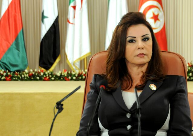 Leila,  wife of Tunisian President Zine El Abidine Ben Ali, attends an Arab Women's Organisation meeting in Tunis in 2010.