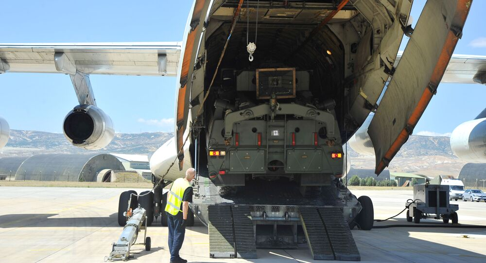 Parts of a Russian S-400 defence system are unloaded from a Russian plane at Murted Airport near Ankara, Turkey on 27 August 2019