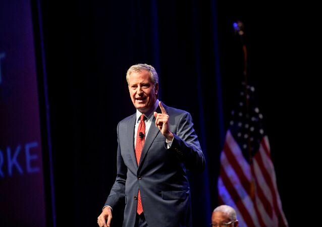 Democratic Presidential candidate New York City Mayor Bill de Blasio speaks during the AFL-CIO Workers Presidential Summit in Philadelphia, Pennsylvania, U.S., September 17, 2019