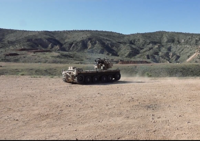 During a recent test, the team of Pratt & Miller, Northrop Grumman and EOS, showed the capability of the Pratt & Miller expeditionary modular autonomous vehicle, or EMAV to fire the M230 Link Fed (M230LF) integrated on the vehicle with the EOS R400 Remote Weapons station.