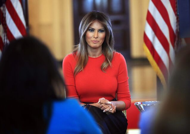 First lady Melania Trump speaks during a discussion with students regarding the issues they are facing in the Blue Room of the White House in Washington
