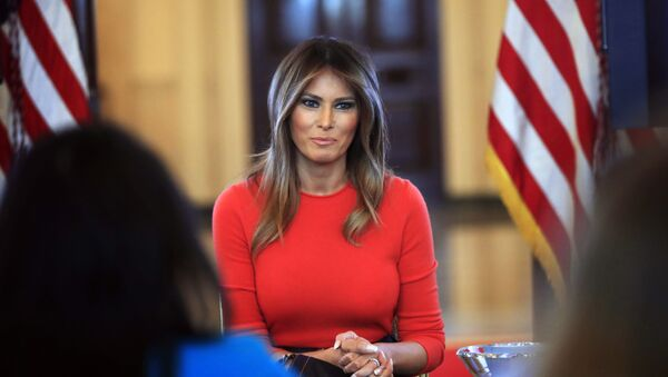 First lady Melania Trump speaks during a discussion with students regarding the issues they are facing in the Blue Room of the White House in Washington - Sputnik International
