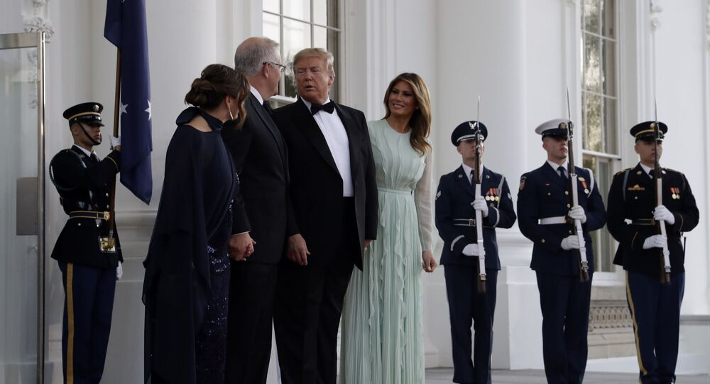 President Donald Trump and first lady Melania Trump welcome Australian Prime Minister Scott Morrison and his wife Jenny Morrison during for a State Dinner at the White House