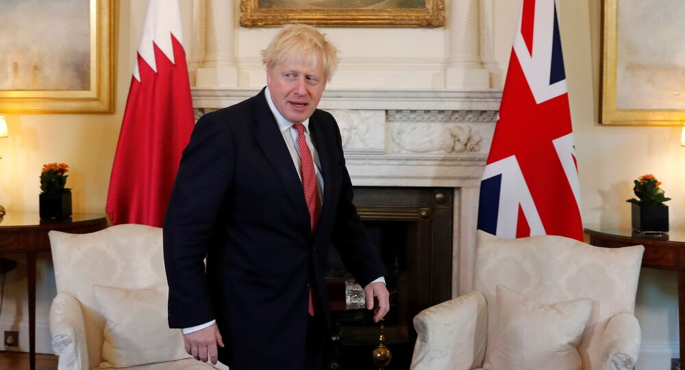 Britain's Prime Minister Boris Johnson meets with Qatar's Emir Sheikh Tamim bin Hamad Al Thani at Downing Street in London, Britain September 20, 2019