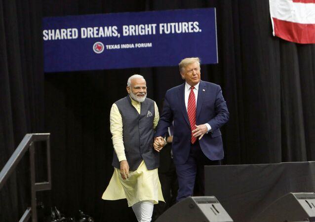 U.S. President Donald Trump and Indian Prime Minister Narendra Modi during a Howdy, Modi rally celebrating Modi at NRG Stadium in Houston, Texas, U.S. September 22, 2019