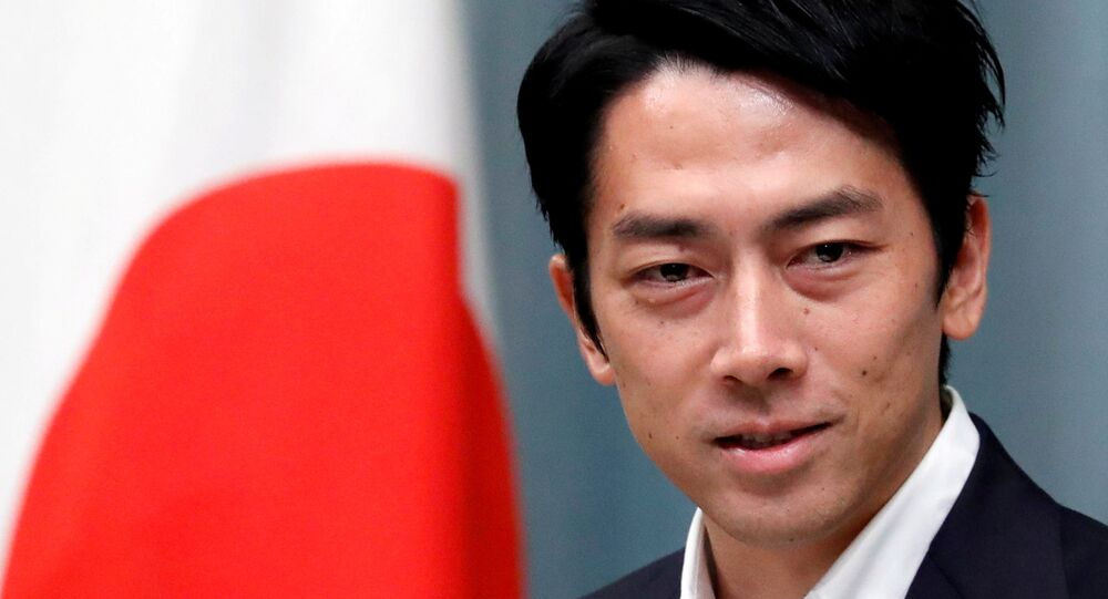 Japan's Environment Minister Shinjiro Koizumi attends a news conference at Prime Minister Shinzo Abe's official residence in Tokyo, Japan September 11, 2019.