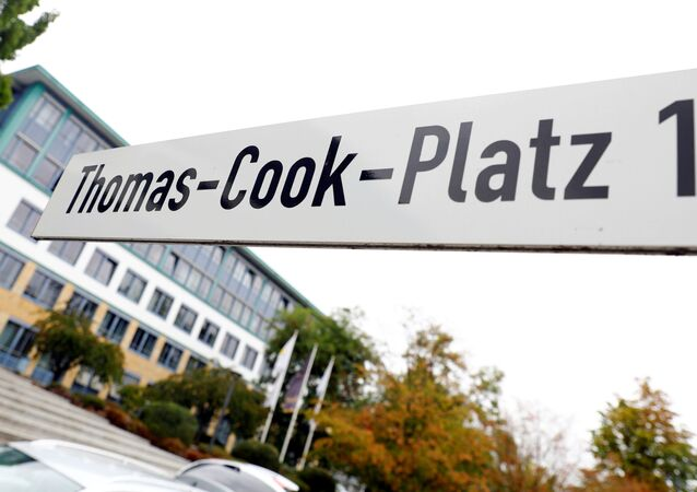 Thomas Cook signage is seen at their German headquarters in Oberursel, near Frankfurt, Germany September 23, 2019