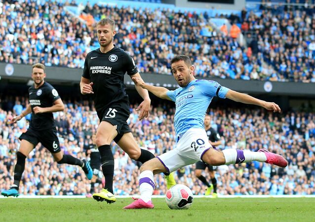 Soccer Football - Premier League - Manchester City v Brighton & Hove Albion - Etihad Stadium, Manchester, Britain - August 31, 2019  Manchester City's Bernardo Silva scores their fourth goal