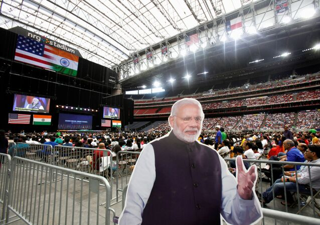 A cardboard cutout of Indian Prime Minister Narendra Modi during a Howdy, Modi rally celebrating Modi at NRG Stadium in Houston, Texas, U.S. September 22, 2019.