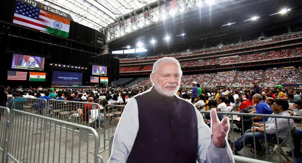 A cardboard cutout of Indian Prime Minister Narendra Modi during a Howdy, Modi rally celebrating Modi at NRG Stadium in Houston, Texas, U.S. September 22, 2019.