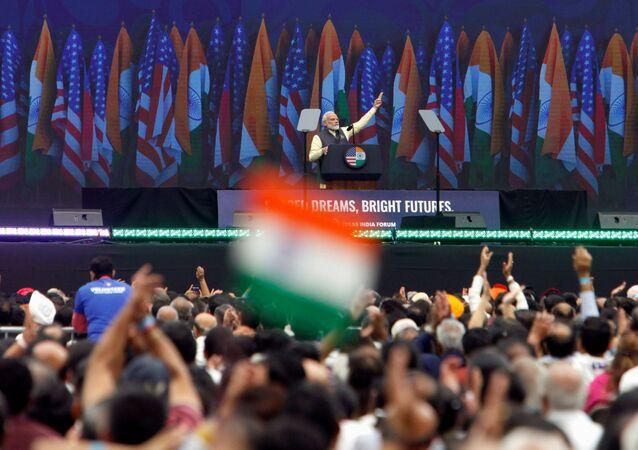 Indian Prime Minister Narendra Modi speaks during the Howdy, Modi rally at NRG Stadium in Houston, 22 September 2019.