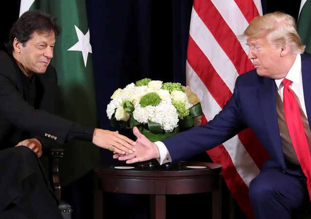 U.S. President Donald Trump greets Pakistan's Prime Minister Imran Khan during a bilateral meeting on the sidelines of the annual United Nations General Assembly in New York City, New York, U.S., September 23, 2019