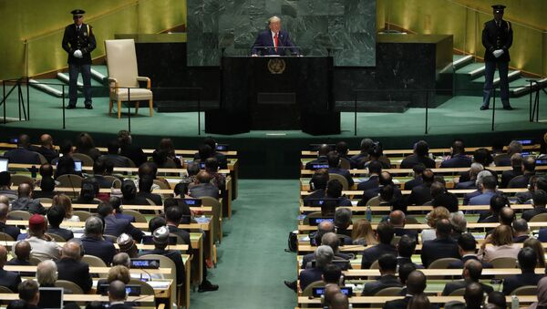 US President Donald Trump addresses the 74th session of the United Nations General Assembly at U.N. headquarters in New York City, New York, U.S., September 24, 2019.  - Sputnik International