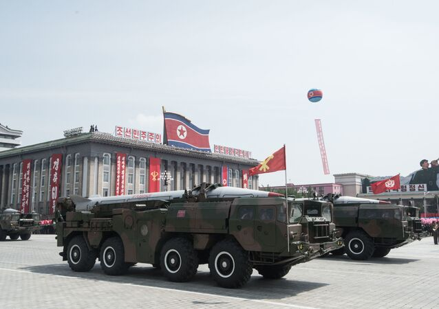 Military vehicle during a parade in Pyongyang