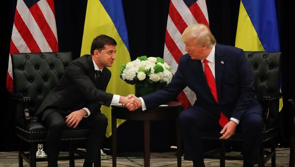 U.S. President Donald Trump shakes hands with Ukraine's President Volodymyr Zelensky during a bilateral meeting on the sidelines of the 74th session of the United Nations General Assembly (UNGA) in New York City, New York, U.S., September 25, 2019 - Sputnik International