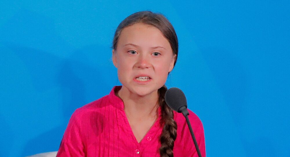 16-year-old Swedish climate activist Greta Thunberg speaks at the 2019 United Nations Climate Action Summit at U.N. headquarters in New York City, 23 September 2019