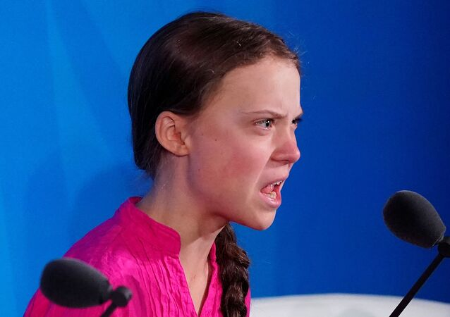 Swedish environmental activist Greta Thunberg speaks during the Climate Action Summit at United Nations HQ in New York, 23 September 2019