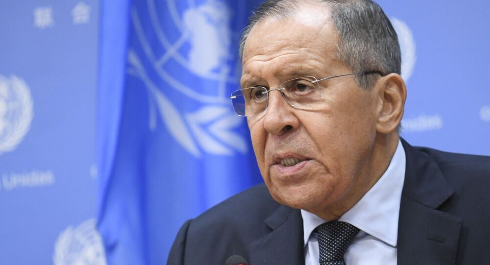 Russia's Foreign Minister Sergei Lavrov, right, gives a news conference at the 74th session of the United Nations General Assembly at the UN headquarters of the United Nations in Manhattan, New York, United States.