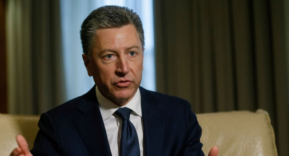 FILE PHOTO - Kurt Volker, United States Special Representative for Ukraine Negotiations, gestures during an interview with Reuters in Kiev, Ukraine October 28, 2017.