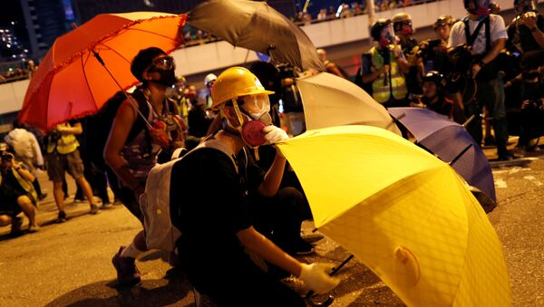 An anti-government protester shelters behind an umbrella as he attends a rally outside the Legislative Council building in Hong Kong, China 28 September 2019.  - Sputnik International