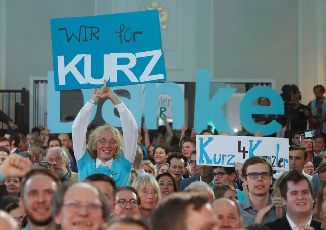 Supporters of Austrian Peoples Party (OeVP) Sebastian Kurz react after the close of the polling stations in Vienna, Austria September 29, 2019.