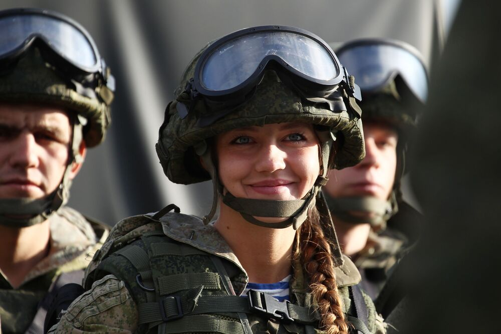 Russian military personnel during a parade as part of a progamme to train officers at the Rayevsky training ground in Krasnodar region.