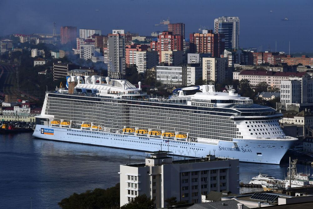 The Spectrum of the Seas cruise ship arrives in the port of Vladivostok. The vessel is based in Shanghai and carries passengers to Japan.