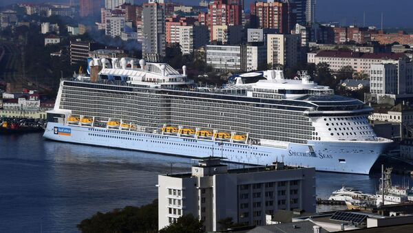 The Spectrum of the Seas cruise ship arrives in the port of Vladivostok. The vessel is based in Shanghai and carries passengers to Japan.   - Sputnik International