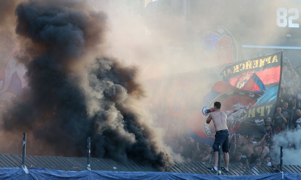 CSKA fans during a match between Arsenal (Tula) and CSKA (Moscow) at the 8th round of the Russian Premier League championship