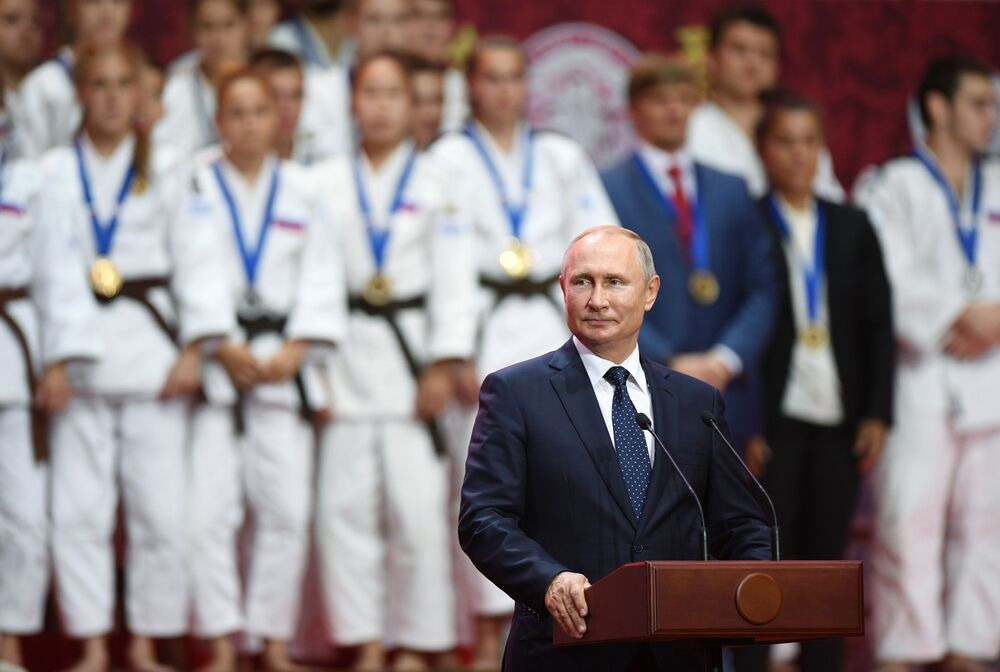 Russian President Vladimir Putin during an award-giving ceremony at the 3rd International Junior Judo tournament as part of the Eastern Economic Forum in Vladivostok.