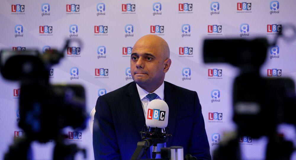 Britain's Chancellor of the Exchequer Sajid Javid participates in a radio interview during the Conservative Party annual conference in Manchester, Britain, September 30, 2019