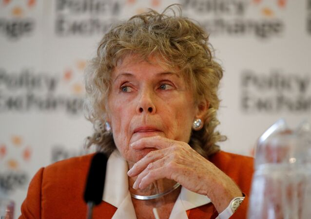 Kate Hoey reacts during a meeting about abolishing the Irish backstop during the Conservative Party annual conference in Manchester, Britain, September 29, 2019
