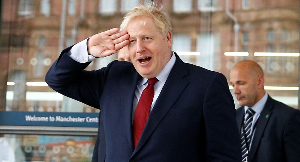 Britain's Prime Minister Boris Johnson is seen outside the venue for the Conservative Party annual conference in Manchester, Britain October 1, 2019
